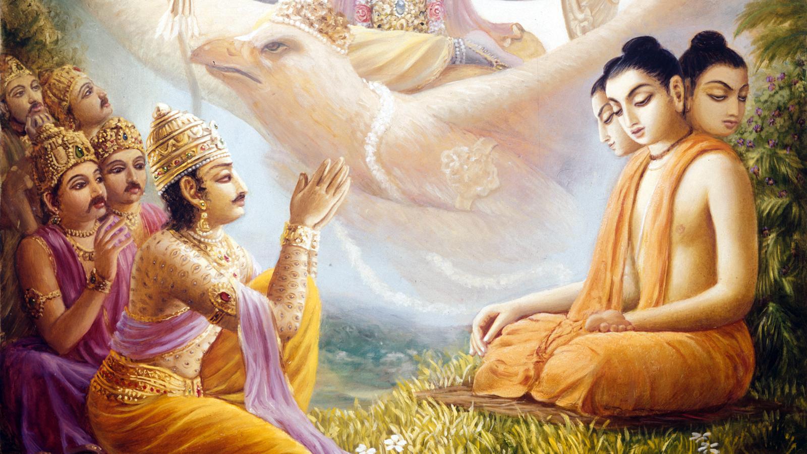 Vishwarupa teaching Narayana Kavacha to Indra