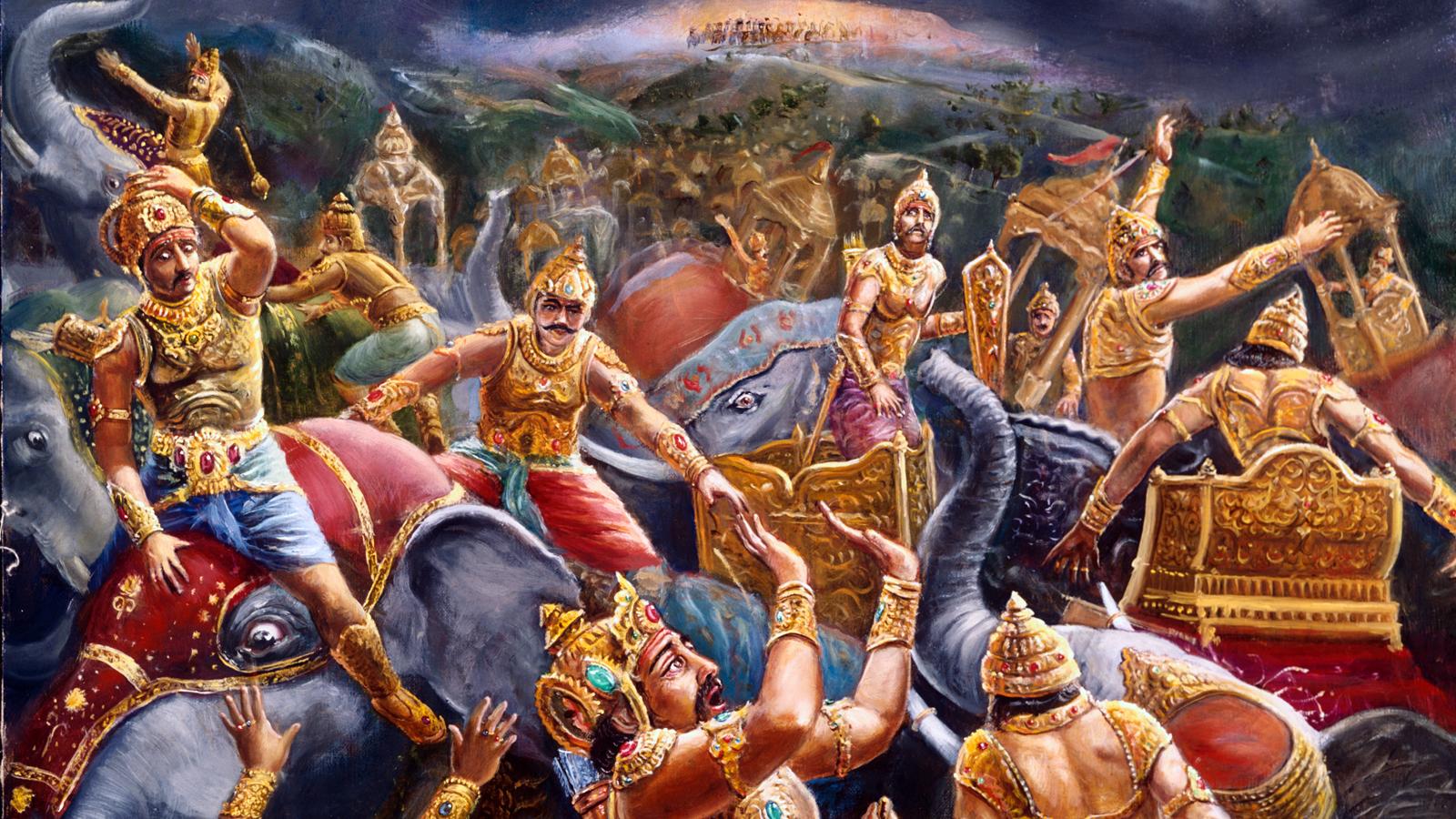 Fighting between devatas and demons