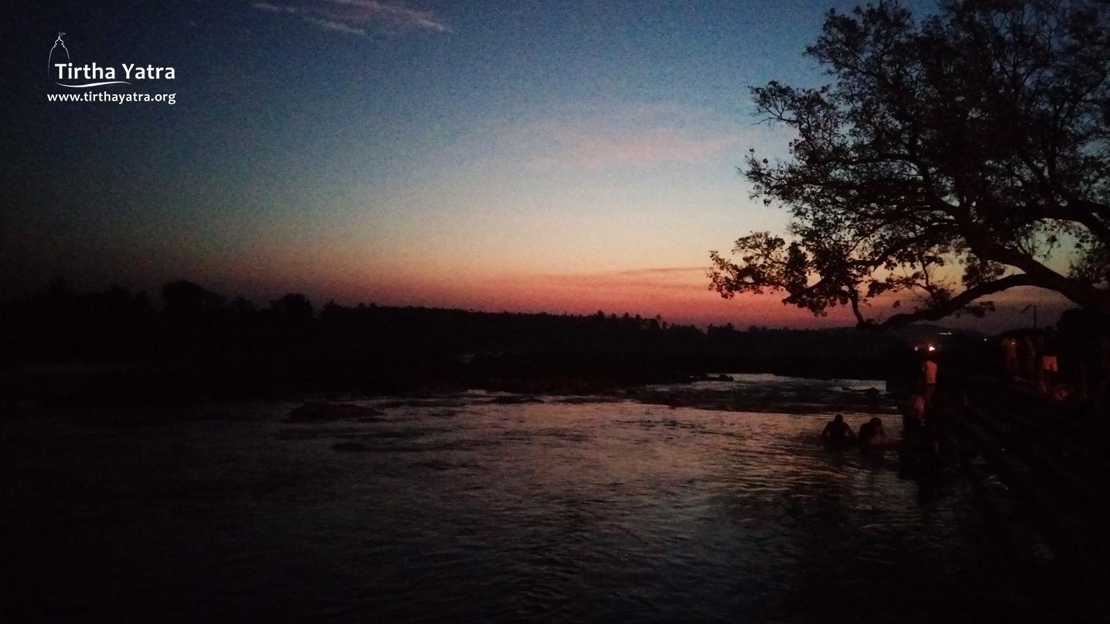sunrise on Kaveri in Srirangapatna
