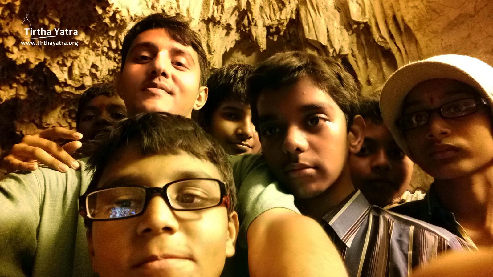 Selfie with children in Belum Caves