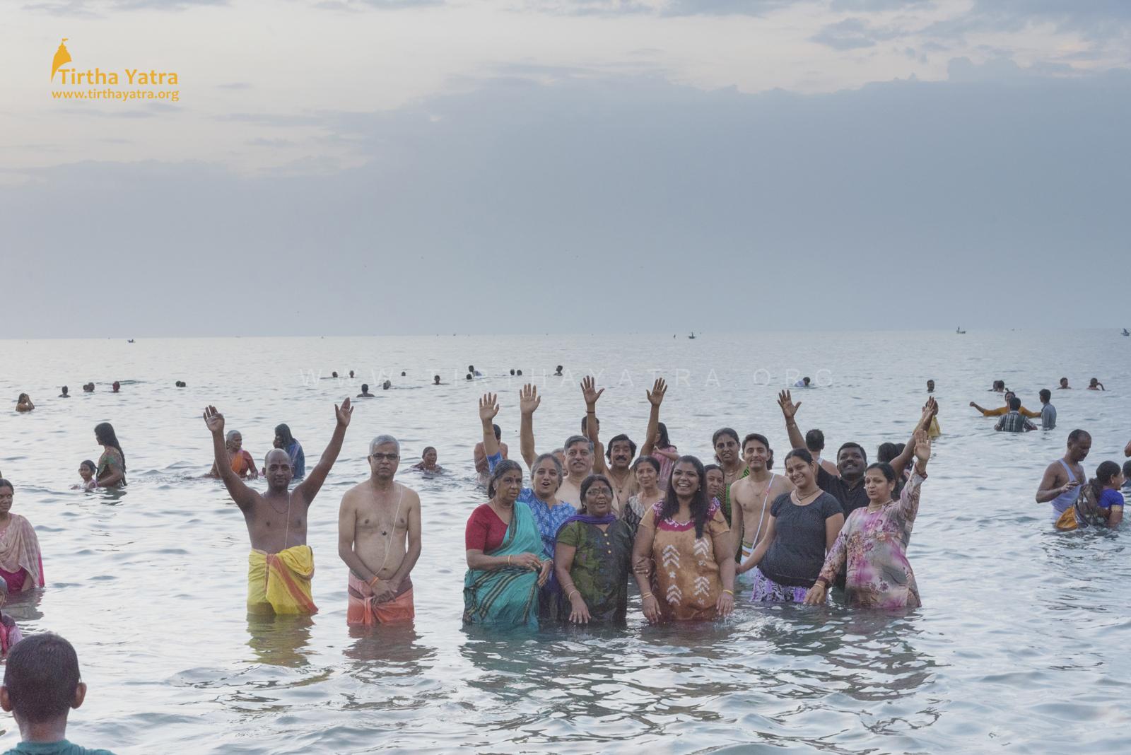 Agni Teertham dip during the Pandiya Nadu Divya Deshams Yatra