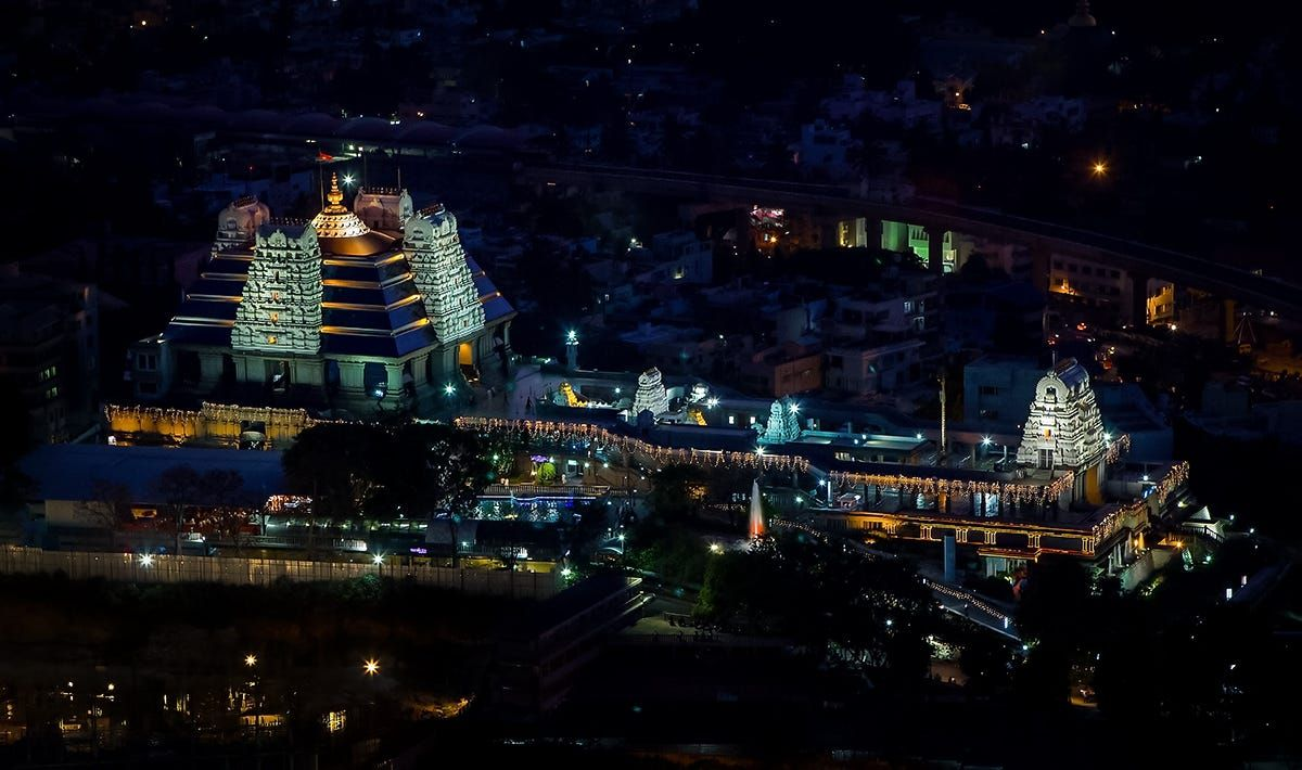 ISKCON Bangalore HK hill night view pinterest
